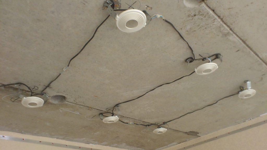 Разводка электрической проводки для установки светильников
