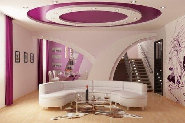 Многоуровневые натяжные потолки для гостиной с установкой