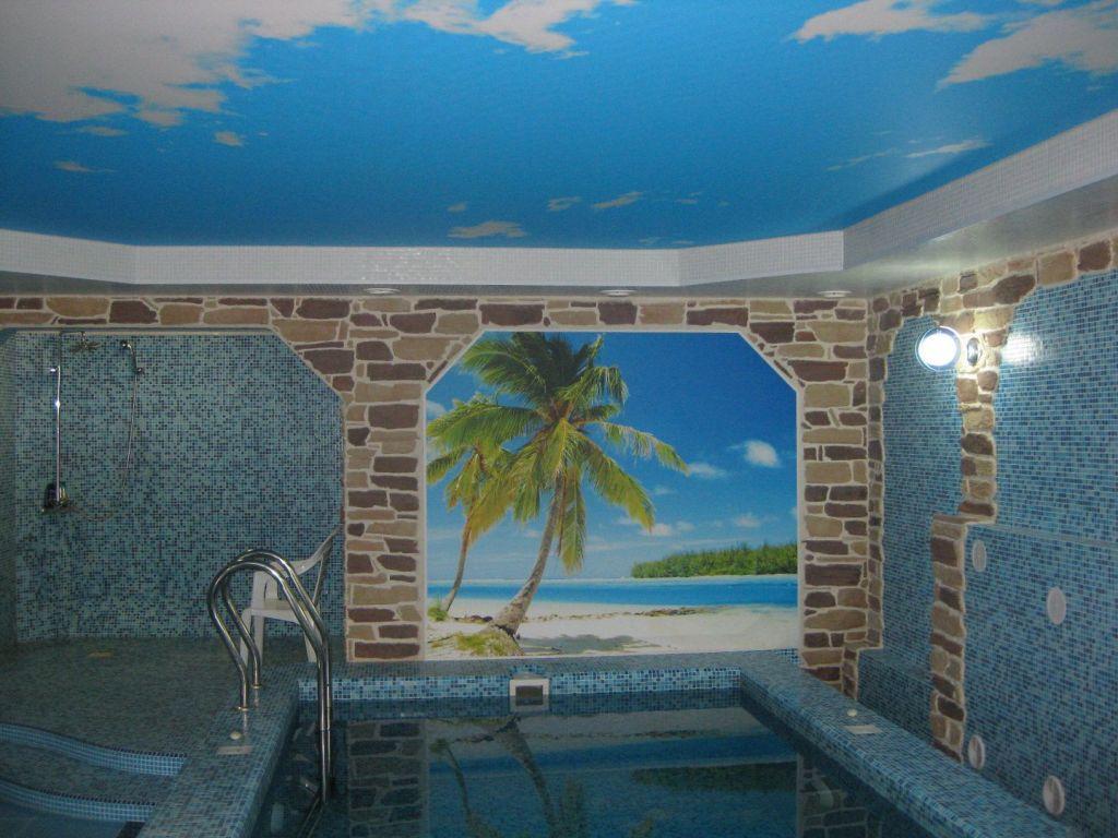 Установка натяжные потолков в бассейне