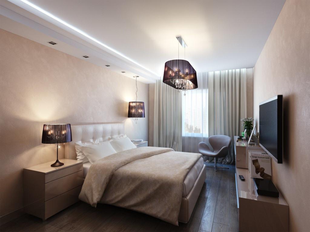 Преимущества натяжного потолка в спальне