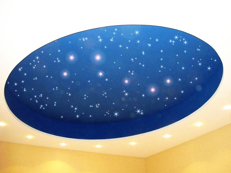 Круглый натяжной потолок звездное небо